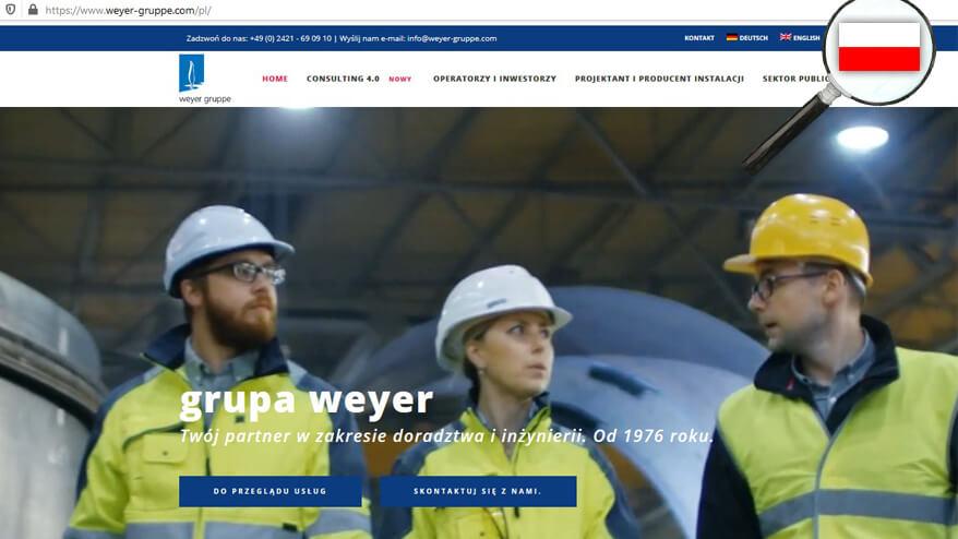 Die Weyer Polska hat eine polnische Version der Website bekommen.